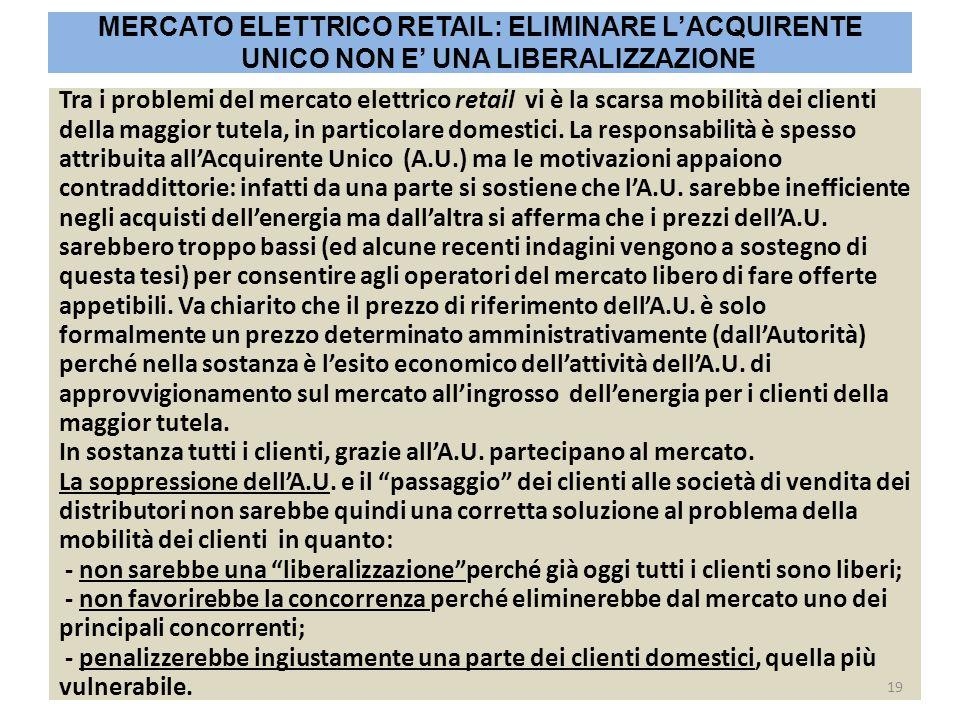 Tra i problemi del mercato elettrico retail vi è la scarsa mobilità dei clienti della maggior tutela, in particolare domestici. La responsabilità è sp