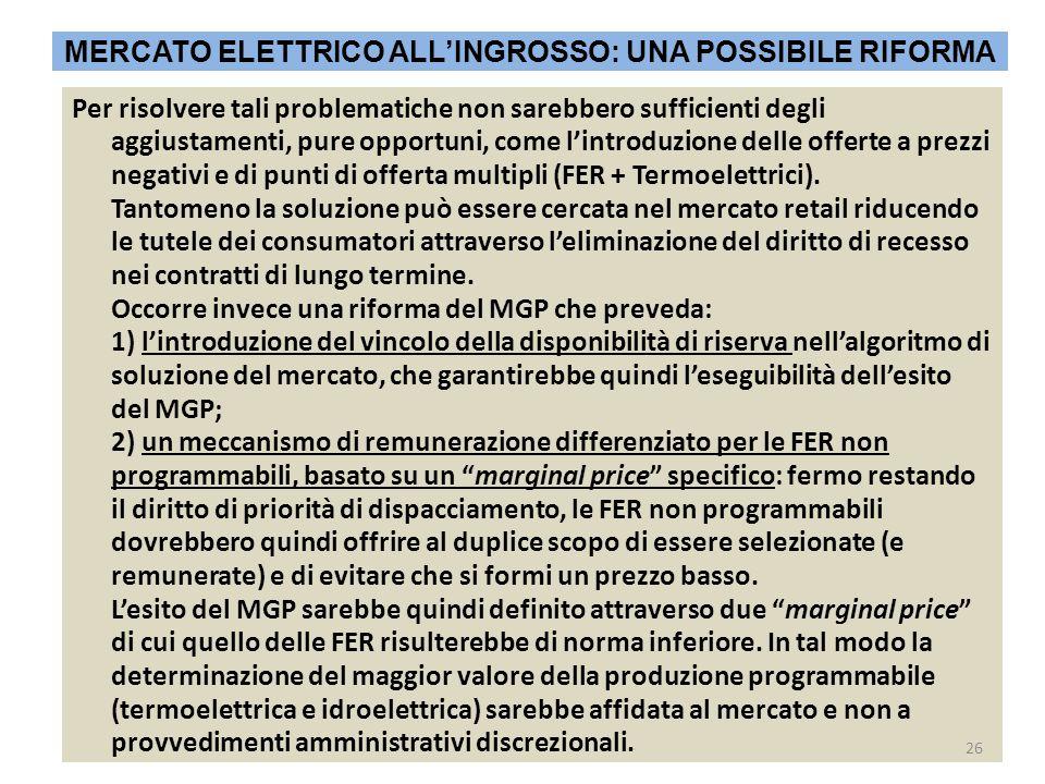 Per risolvere tali problematiche non sarebbero sufficienti degli aggiustamenti, pure opportuni, come l'introduzione delle offerte a prezzi negativi e di punti di offerta multipli (FER + Termoelettrici).