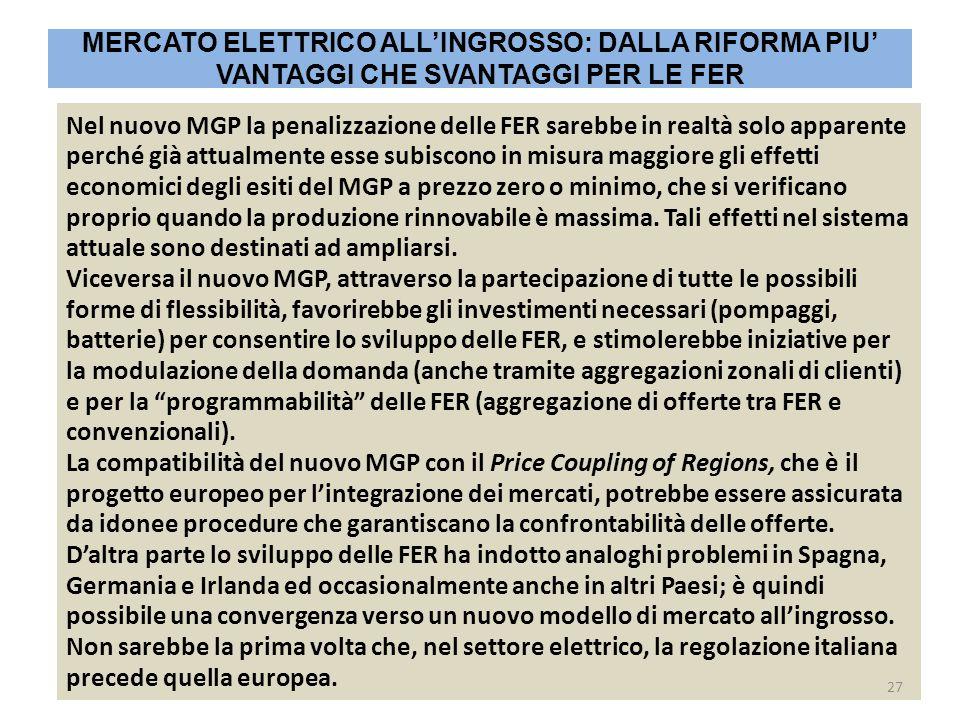 Nel nuovo MGP la penalizzazione delle FER sarebbe in realtà solo apparente perché già attualmente esse subiscono in misura maggiore gli effetti economici degli esiti del MGP a prezzo zero o minimo, che si verificano proprio quando la produzione rinnovabile è massima.