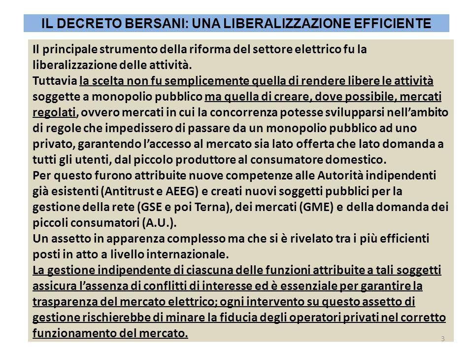Il principale strumento della riforma del settore elettrico fu la liberalizzazione delle attività. Tuttavia la scelta non fu semplicemente quella di r