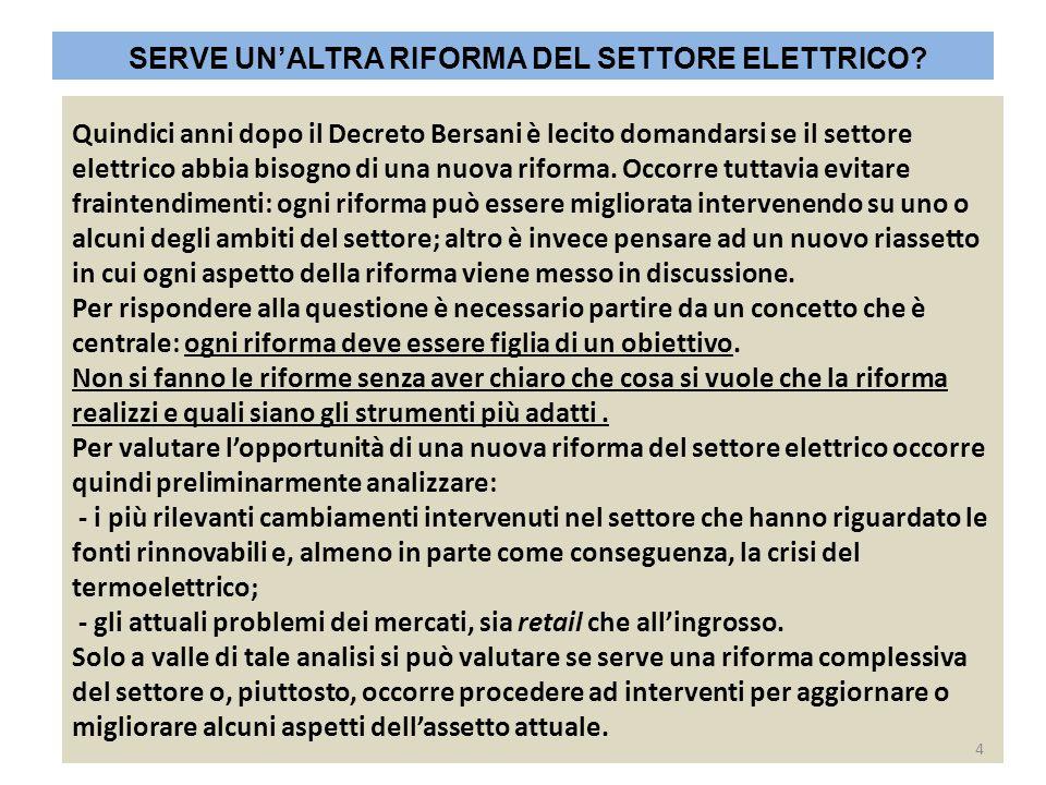 Quindici anni dopo il Decreto Bersani è lecito domandarsi se il settore elettrico abbia bisogno di una nuova riforma. Occorre tuttavia evitare frainte