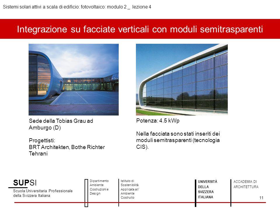 Integrazione su facciate verticali con moduli semitrasparenti SUPSI Scuola Universitaria Professionale della Svizzera Italiana Dipartimento Ambiente C