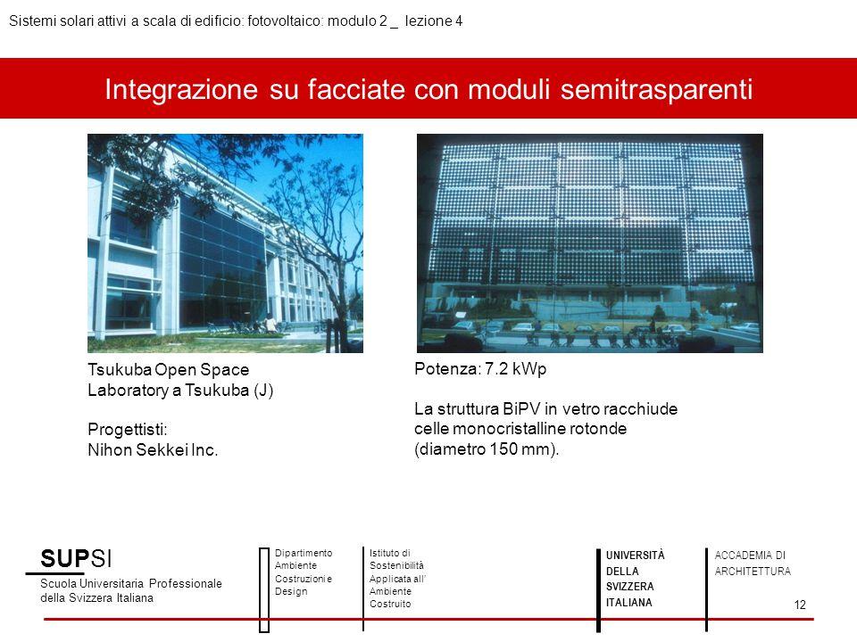 Integrazione su facciate con moduli semitrasparenti SUPSI Scuola Universitaria Professionale della Svizzera Italiana Dipartimento Ambiente Costruzioni