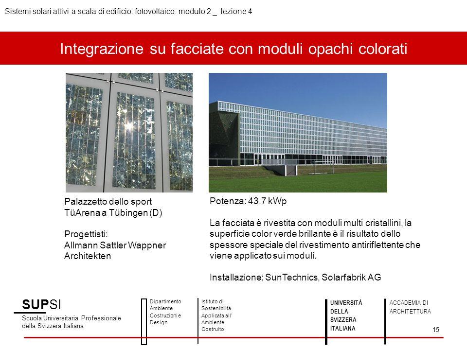 Integrazione su facciate con moduli opachi colorati SUPSI Scuola Universitaria Professionale della Svizzera Italiana Dipartimento Ambiente Costruzioni