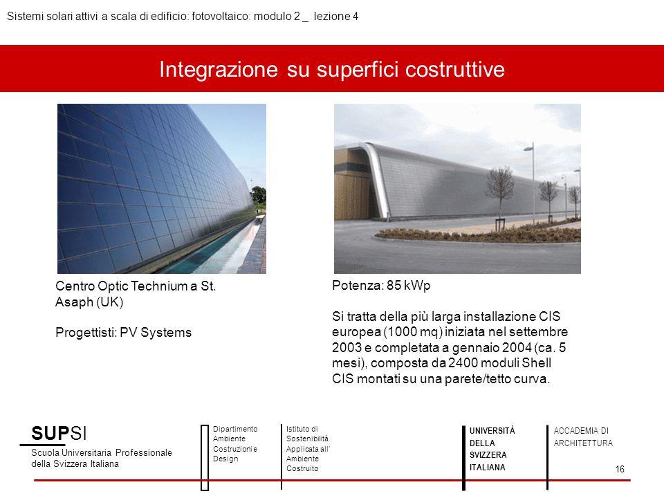 Integrazione su superfici costruttive SUPSI Scuola Universitaria Professionale della Svizzera Italiana Dipartimento Ambiente Costruzioni e Design Isti
