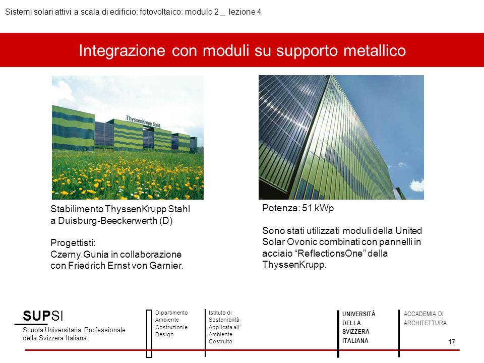 Integrazione con moduli su supporto metallico SUPSI Scuola Universitaria Professionale della Svizzera Italiana Dipartimento Ambiente Costruzioni e Des