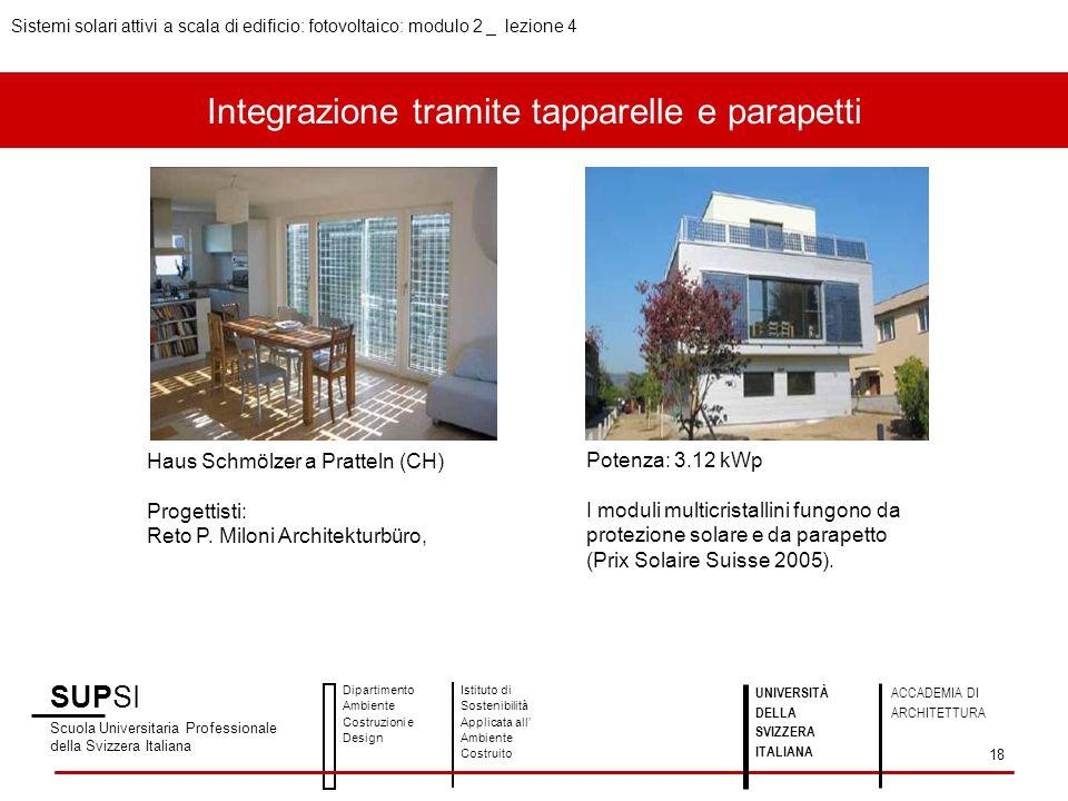 Integrazione tramite tapparelle e parapetti SUPSI Scuola Universitaria Professionale della Svizzera Italiana Dipartimento Ambiente Costruzioni e Desig