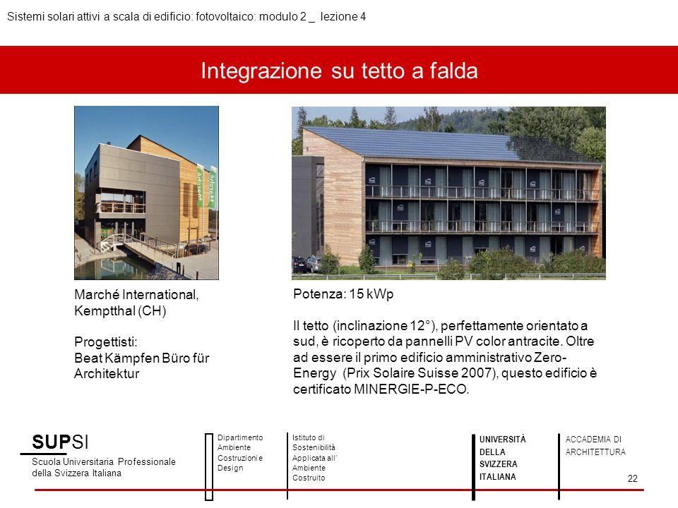 Integrazione su tetto a falda SUPSI Scuola Universitaria Professionale della Svizzera Italiana Dipartimento Ambiente Costruzioni e Design Istituto di