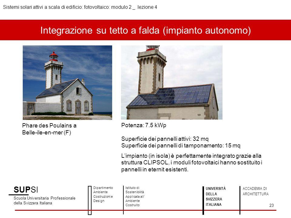 Integrazione su tetto a falda (impianto autonomo) SUPSI Scuola Universitaria Professionale della Svizzera Italiana Dipartimento Ambiente Costruzioni e