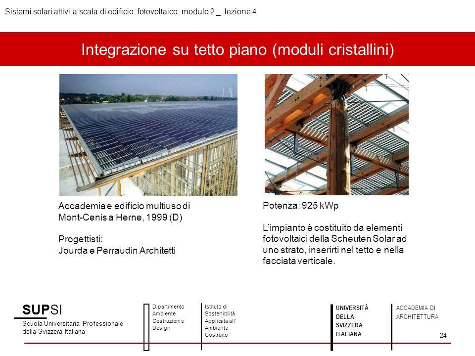 Integrazione su tetto piano (moduli cristallini) SUPSI Scuola Universitaria Professionale della Svizzera Italiana Dipartimento Ambiente Costruzioni e