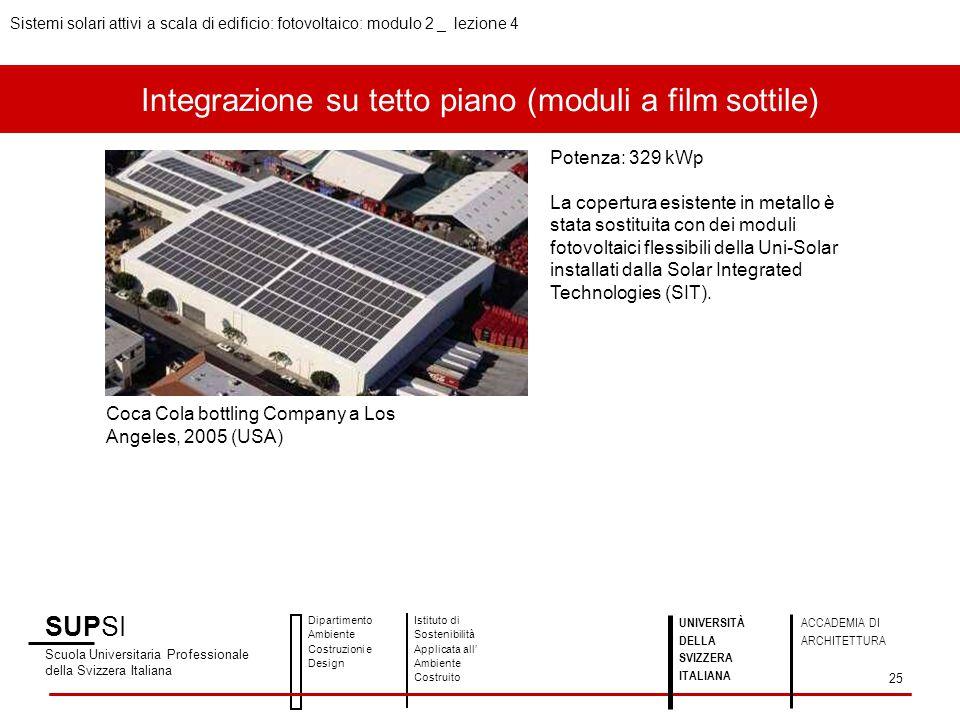 Integrazione su tetto piano (moduli a film sottile) SUPSI Scuola Universitaria Professionale della Svizzera Italiana Dipartimento Ambiente Costruzioni