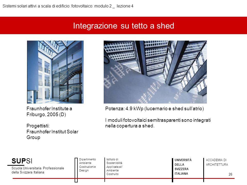 Integrazione su tetto a shed SUPSI Scuola Universitaria Professionale della Svizzera Italiana Dipartimento Ambiente Costruzioni e Design Istituto di S