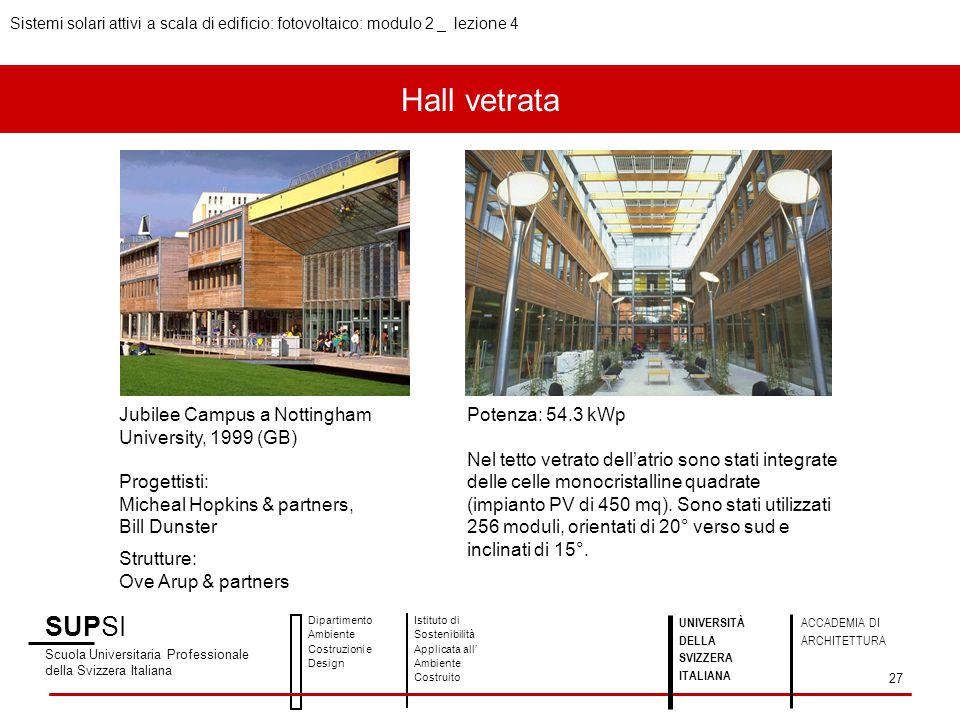 Hall vetrata SUPSI Scuola Universitaria Professionale della Svizzera Italiana Dipartimento Ambiente Costruzioni e Design Istituto di Sostenibilità App
