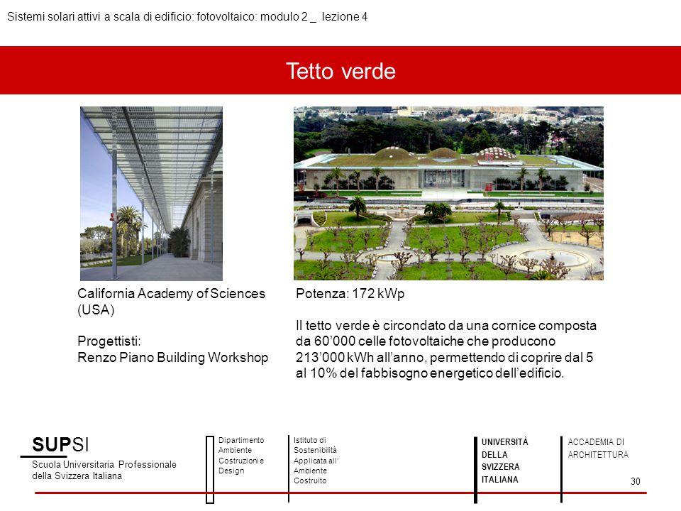 Tetto verde SUPSI Scuola Universitaria Professionale della Svizzera Italiana Dipartimento Ambiente Costruzioni e Design Istituto di Sostenibilità Appl