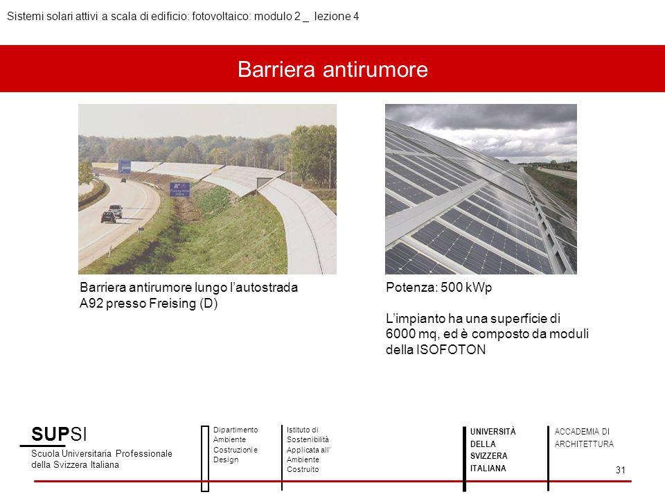 Barriera antirumore SUPSI Scuola Universitaria Professionale della Svizzera Italiana Dipartimento Ambiente Costruzioni e Design Istituto di Sostenibil