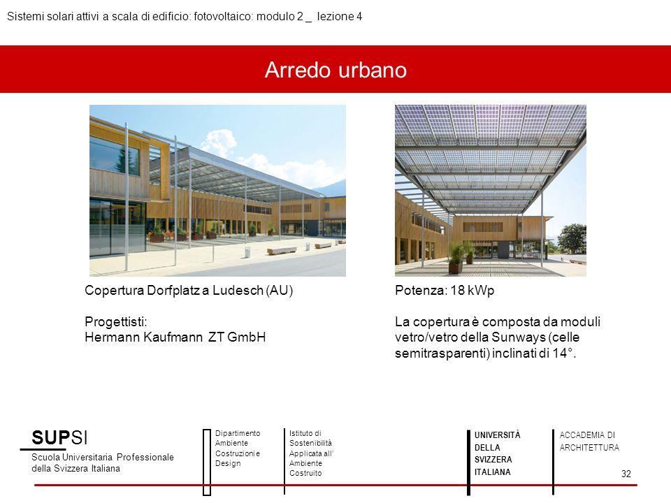 Arredo urbano SUPSI Scuola Universitaria Professionale della Svizzera Italiana Dipartimento Ambiente Costruzioni e Design Istituto di Sostenibilità Ap