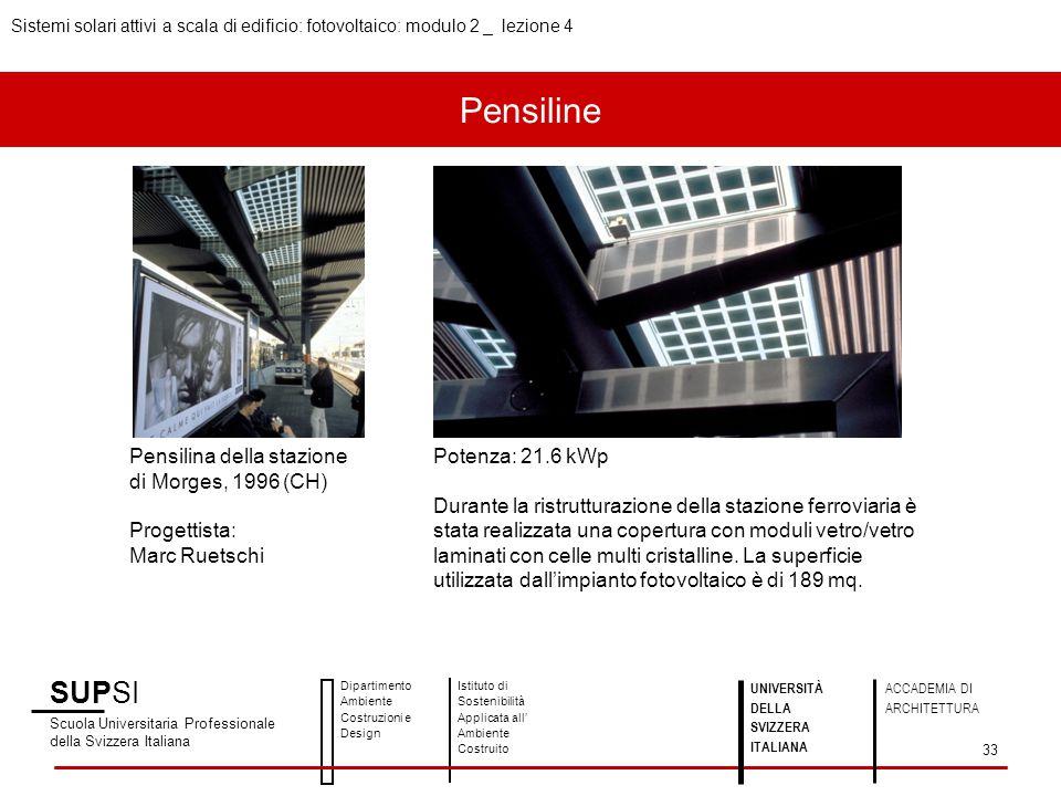 Pensiline SUPSI Scuola Universitaria Professionale della Svizzera Italiana Dipartimento Ambiente Costruzioni e Design Istituto di Sostenibilità Applic
