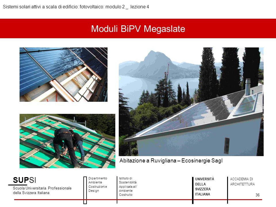 Moduli BiPV Megaslate SUPSI Scuola Universitaria Professionale della Svizzera Italiana Dipartimento Ambiente Costruzioni e Design Istituto di Sostenib