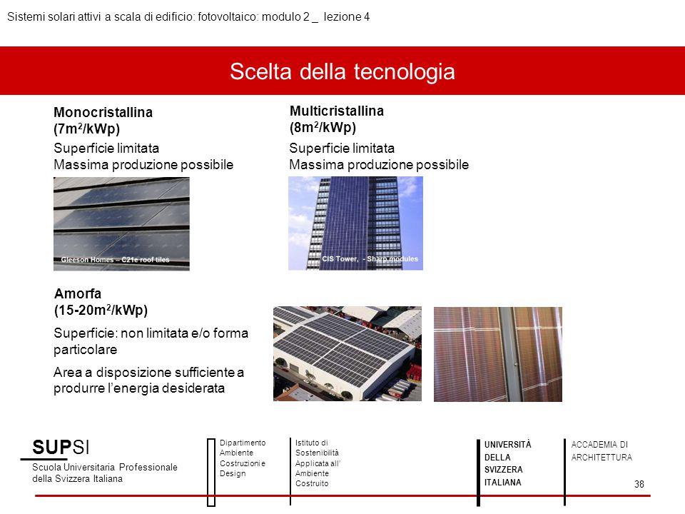 Scelta della tecnologia SUPSI Scuola Universitaria Professionale della Svizzera Italiana Dipartimento Ambiente Costruzioni e Design Istituto di Sosten