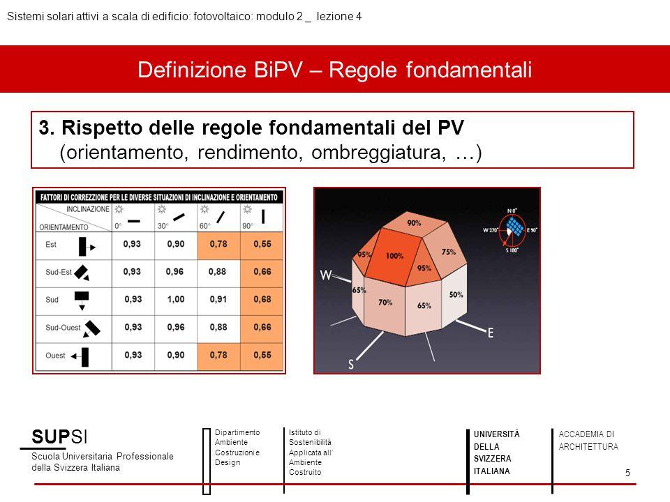 Definizione BiPV – Regole fondamentali SUPSI Scuola Universitaria Professionale della Svizzera Italiana Dipartimento Ambiente Costruzioni e Design Ist