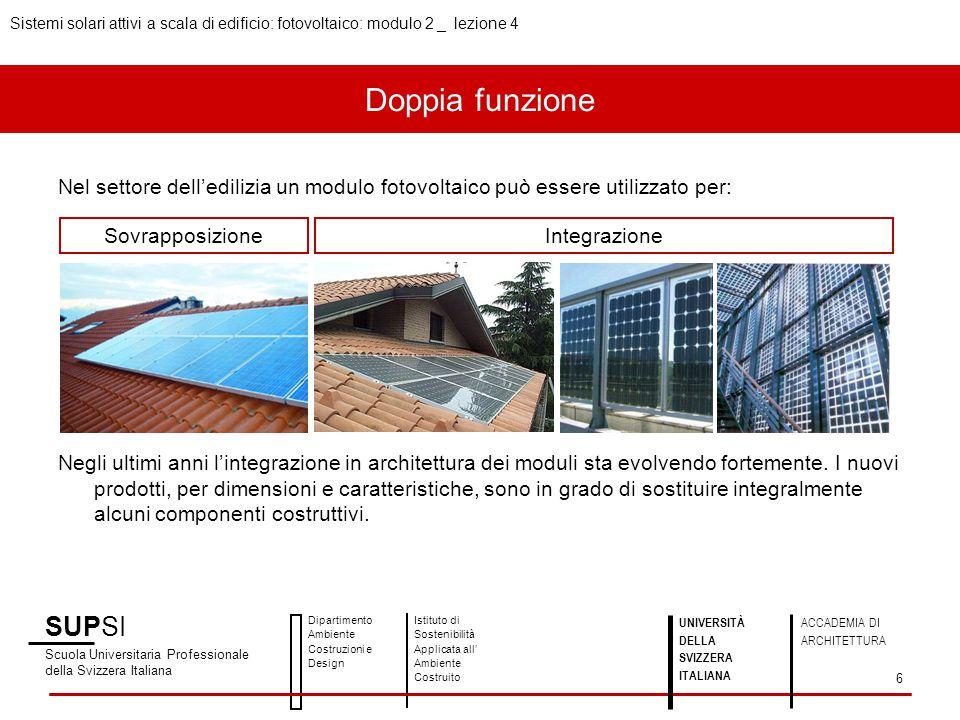 Doppia funzione Nel settore dell'edilizia un modulo fotovoltaico può essere utilizzato per: Negli ultimi anni l'integrazione in architettura dei modul