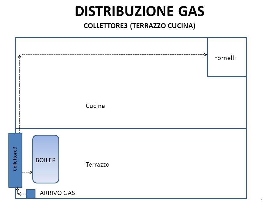 DISTRIBUZIONE GAS BOILER 7 COLLETTORE3 (TERRAZZO CUCINA) Fornelli ARRIVO GAS Collettore3 Cucina Terrazzo
