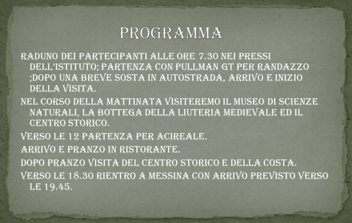 Visita RANDAZZO/acireale Scuola secondaria primo grado 1°classi 24/04/2015