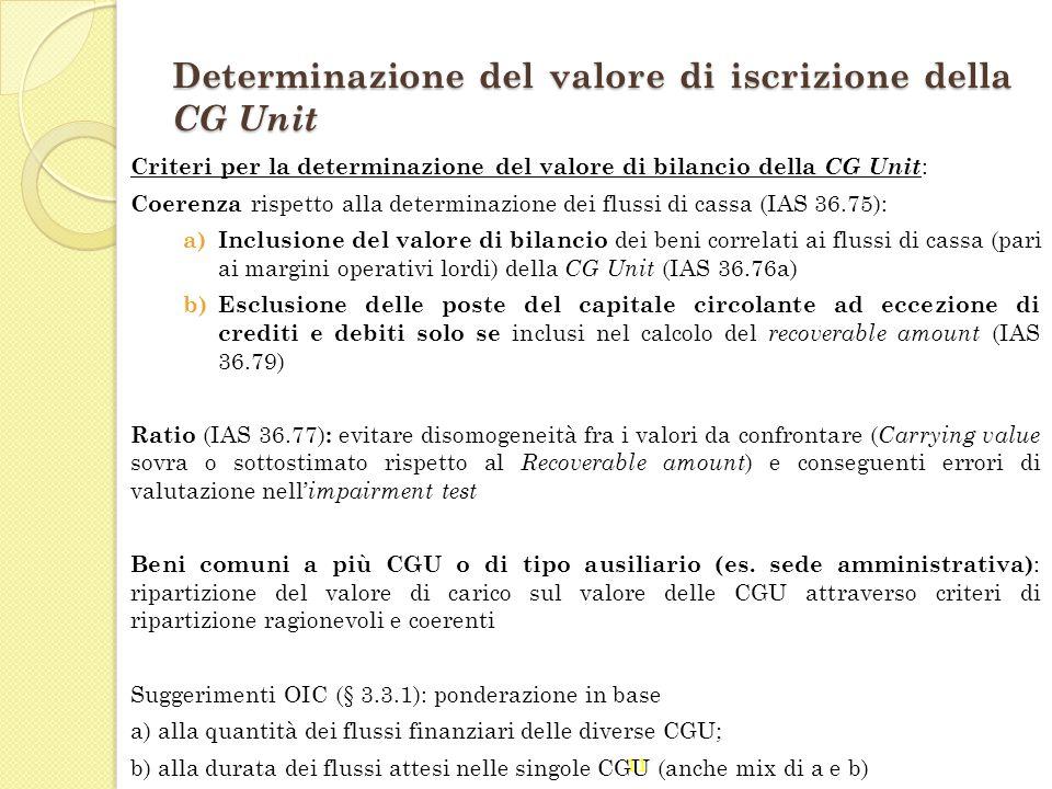 11 Determinazione del valore di iscrizione della CG Unit Criteri per la determinazione del valore di bilancio della CG Unit : Coerenza rispetto alla d