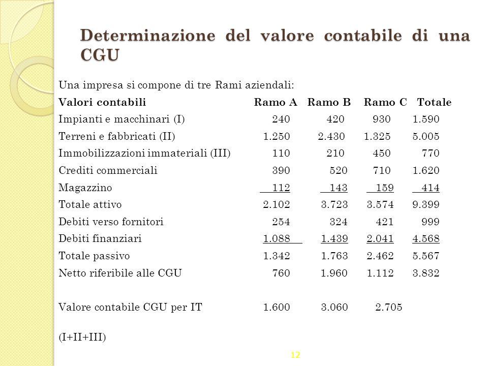 12 Determinazione del valore contabile di una CGU Una impresa si compone di tre Rami aziendali: Valori contabili Ramo A Ramo B Ramo C Totale Impianti