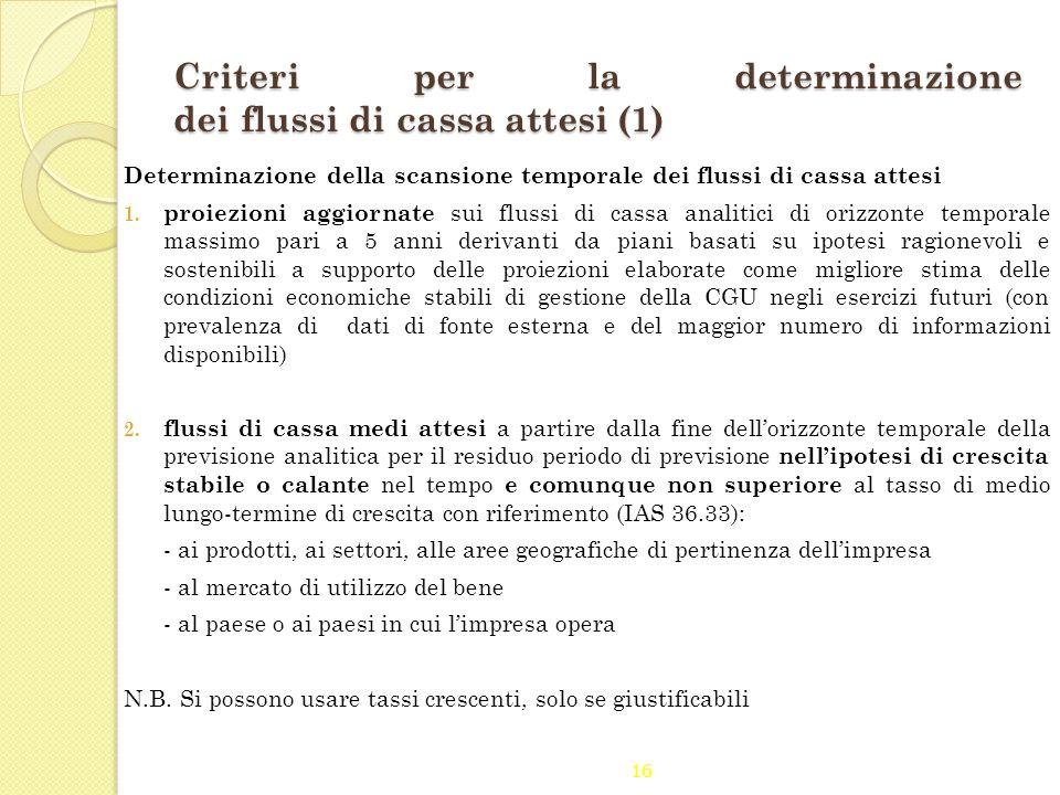 16 Criteri per la determinazione dei flussi di cassa attesi (1) Determinazione della scansione temporale dei flussi di cassa attesi 1. proiezioni aggi
