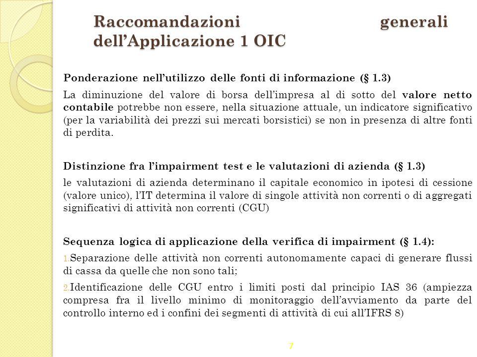 7 Raccomandazioni generali dell'Applicazione 1 OIC Ponderazione nell'utilizzo delle fonti di informazione (§ 1.3) La diminuzione del valore di borsa d