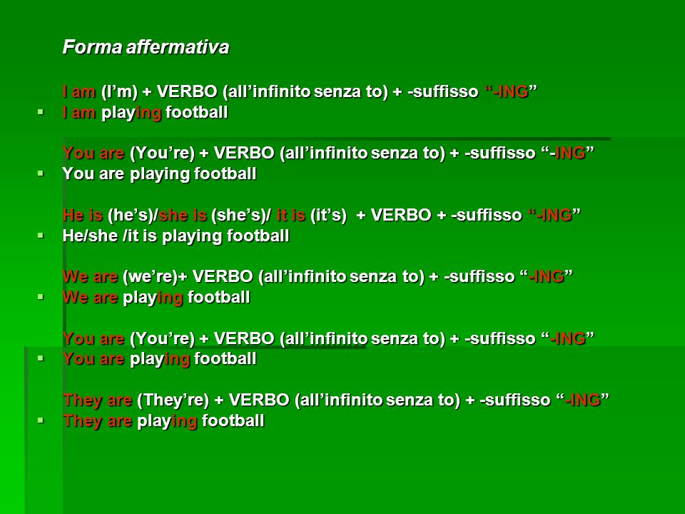 Forma affermativa I am (I'm) + VERBO (all'infinito senza to) + -suffisso -ING  I am playing football You are (You're) + VERBO (all'infinito senza to) + -suffisso -ING  You are playing football He is (he's)/she is (she's)/ it is (it's) + VERBO + -suffisso -ING  He/she /it is playing football We are (we're)+ VERBO (all'infinito senza to) + -suffisso -ING  We are playing football You are (You're) + VERBO (all'infinito senza to) + -suffisso -ING  You are playing football They are (They're) + VERBO (all'infinito senza to) + -suffisso -ING  They are playing football