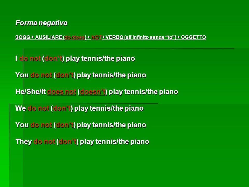 Forma negativa SOGG + AUSILIARE (do /does) + NOT+ VERBO (all'infinito senza to ) + OGGETTO I do not (don't) play tennis/the piano You do not (don't) play tennis/the piano He/She/It does not (doesn't) play tennis/the piano We do not (don't) play tennis/the piano You do not (don't) play tennis/the piano They do not (don't) play tennis/the piano