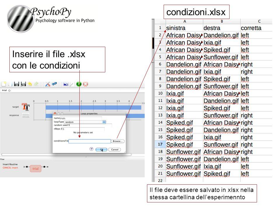 Inserire il file.xlsx con le condizioni condizioni.xlsx Il file deve essere salvato in xlsx nella stessa cartellina dell'esperimennto