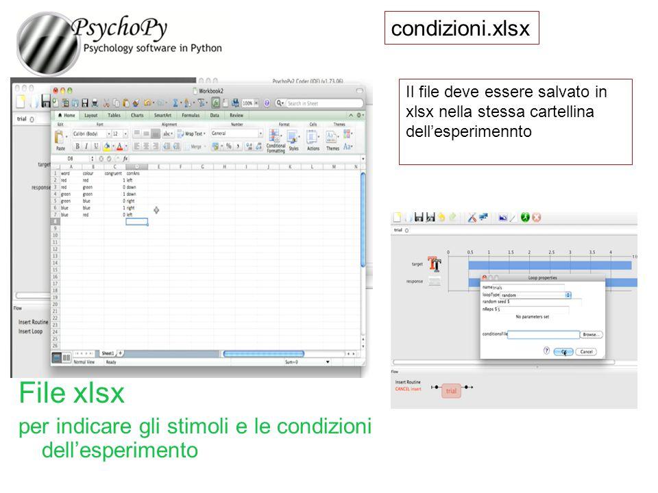 condizioni.xlsx Il file deve essere salvato in xlsx nella stessa cartellina dell'esperimennto File xlsx per indicare gli stimoli e le condizioni dell'
