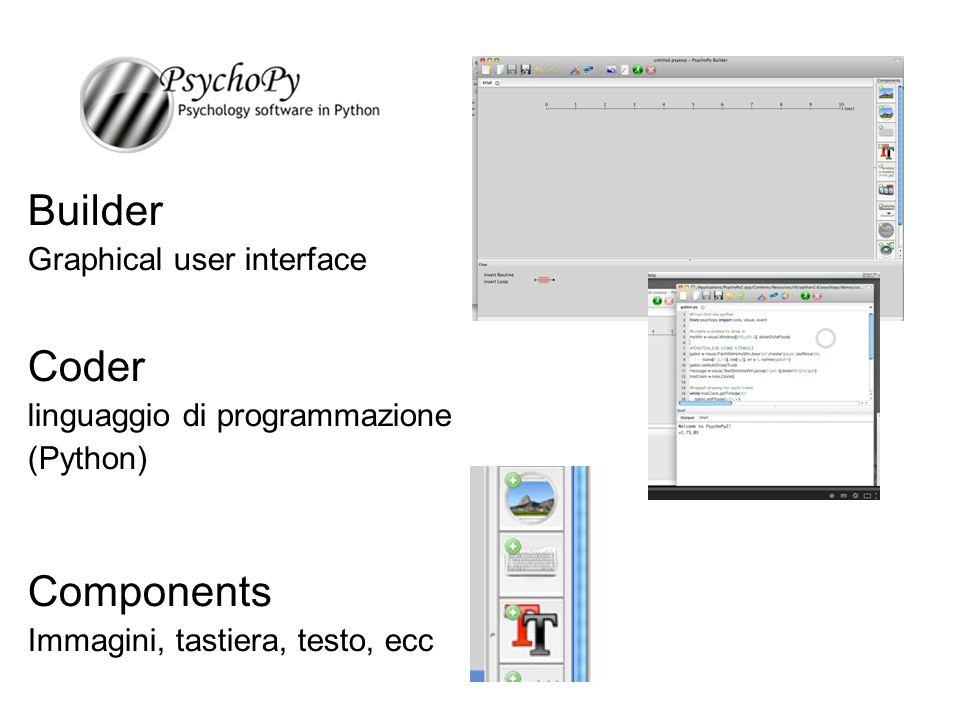 Builder Graphical user interface Coder linguaggio di programmazione (Python) Components Immagini, tastiera, testo, ecc _______________________________