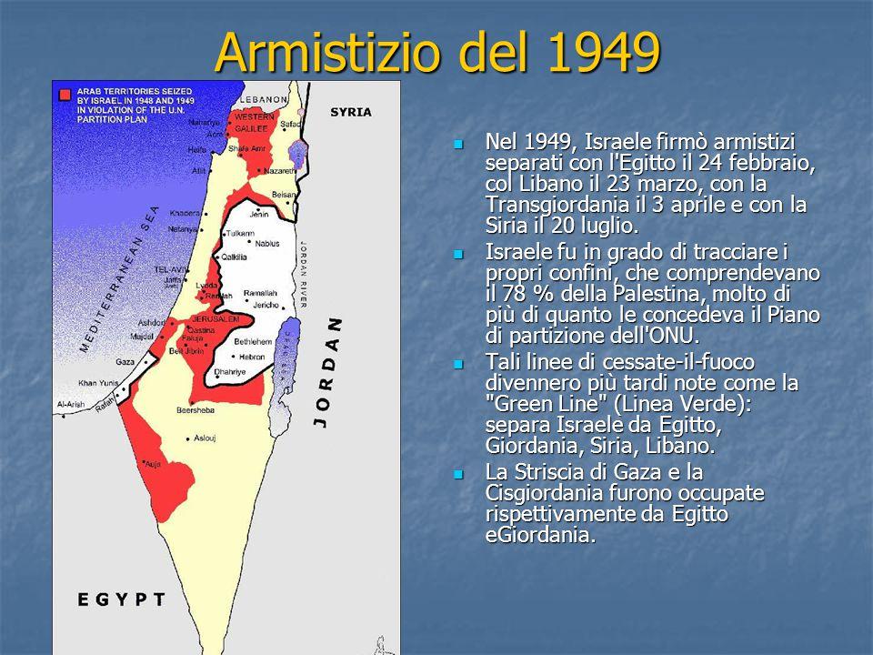 Armistizio del 1949 Nel 1949, Israele firmò armistizi separati con l Egitto il 24 febbraio, col Libano il 23 marzo, con la Transgiordania il 3 aprile e con la Siria il 20 luglio.
