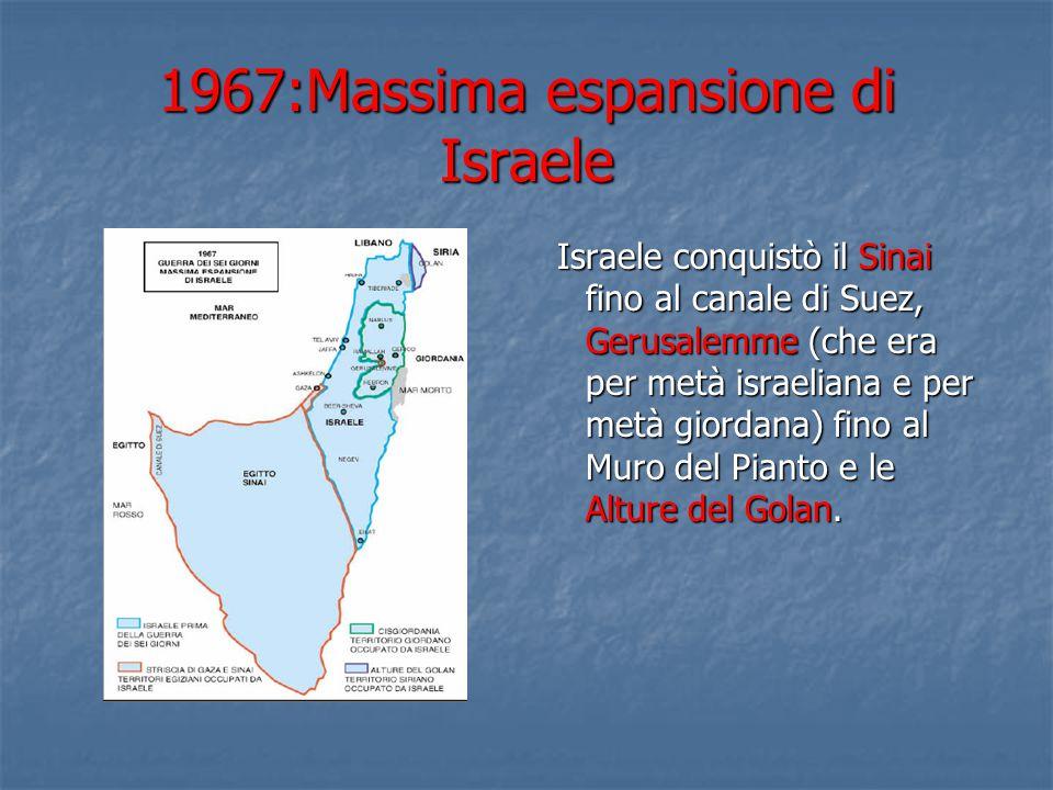 1967:Massima espansione di Israele Israele conquistò il Sinai fino al canale di Suez, Gerusalemme (che era per metà israeliana e per metà giordana) fino al Muro del Pianto e le Alture del Golan.