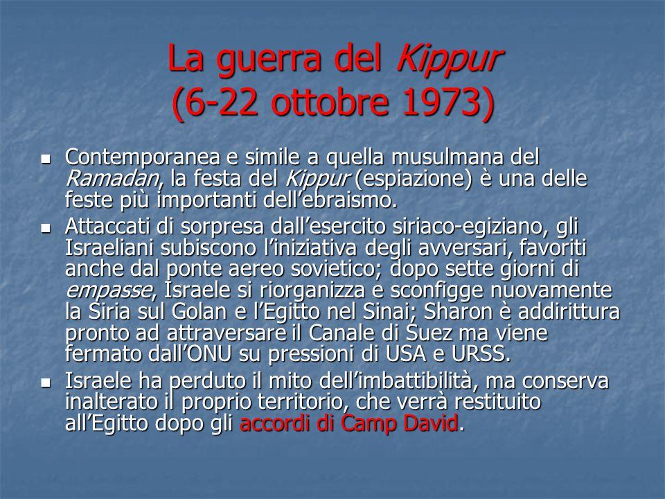 La guerra del Kippur (6-22 ottobre 1973) Contemporanea e simile a quella musulmana del Ramadan, la festa del Kippur (espiazione) è una delle feste più importanti dell'ebraismo.