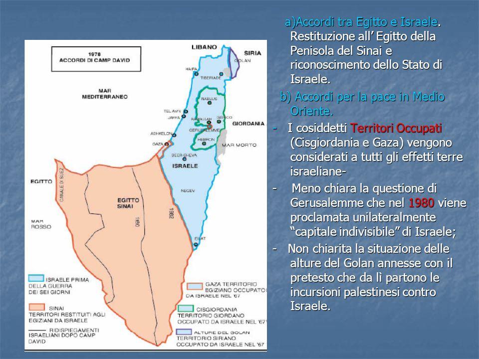 a)Accordi tra Egitto e Israele.