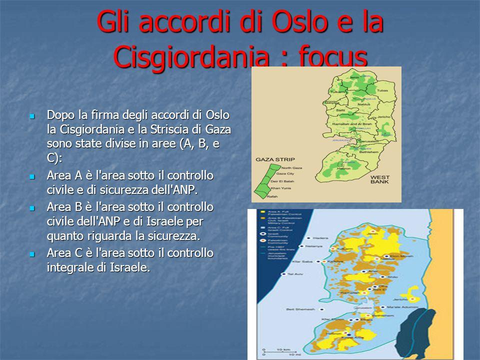 Gli accordi di Oslo e la Cisgiordania : focus Dopo la firma degli accordi di Oslo la Cisgiordania e la Striscia di Gaza sono state divise in aree (A, B, e C): Dopo la firma degli accordi di Oslo la Cisgiordania e la Striscia di Gaza sono state divise in aree (A, B, e C): Area A è l area sotto il controllo civile e di sicurezza dell ANP.