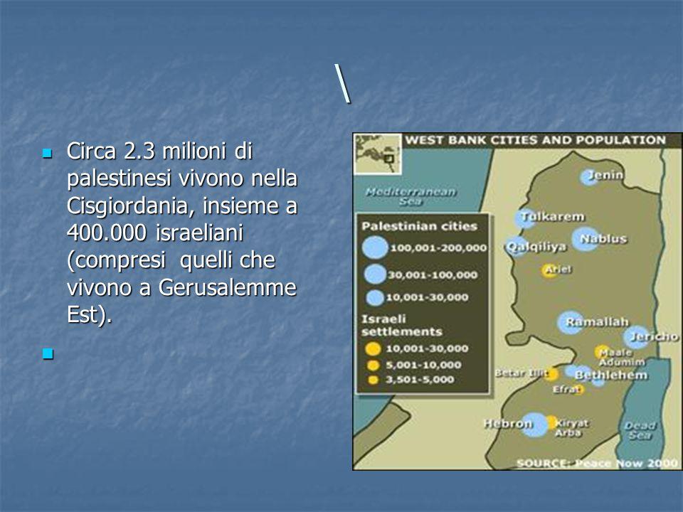 \ Circa 2.3 milioni di palestinesi vivono nella Cisgiordania, insieme a 400.000 israeliani (compresi quelli che vivono a Gerusalemme Est).