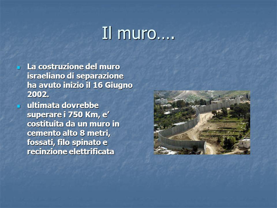 Il muro…. La costruzione del muro israeliano di separazione ha avuto inizio il 16 Giugno 2002.