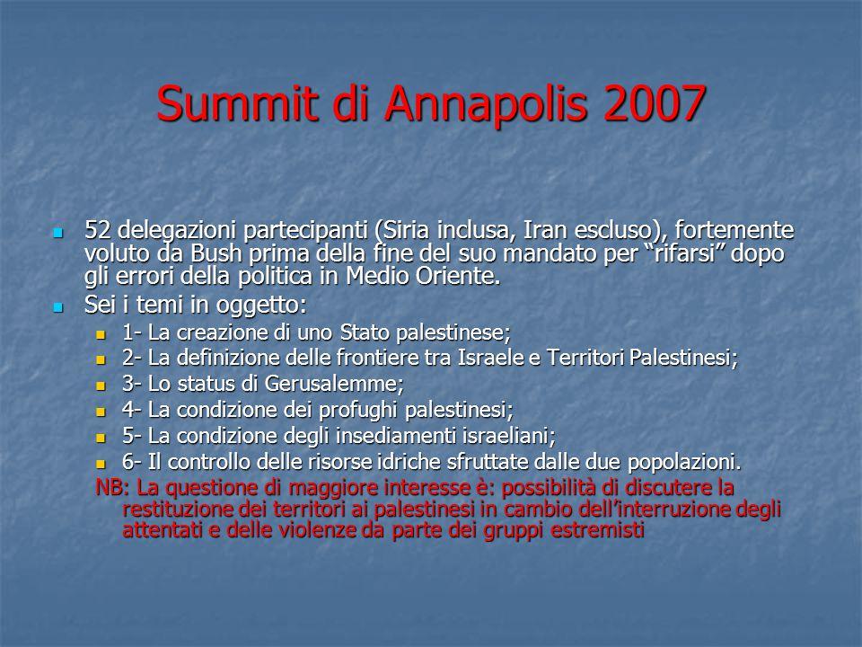 Summit di Annapolis 2007 52 delegazioni partecipanti (Siria inclusa, Iran escluso), fortemente voluto da Bush prima della fine del suo mandato per rifarsi dopo gli errori della politica in Medio Oriente.
