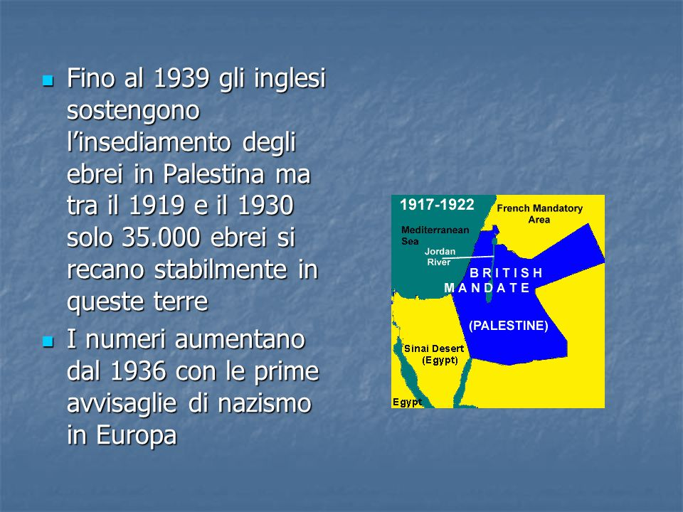 Fino al 1939 gli inglesi sostengono l'insediamento degli ebrei in Palestina ma tra il 1919 e il 1930 solo 35.000 ebrei si recano stabilmente in queste terre Fino al 1939 gli inglesi sostengono l'insediamento degli ebrei in Palestina ma tra il 1919 e il 1930 solo 35.000 ebrei si recano stabilmente in queste terre I numeri aumentano dal 1936 con le prime avvisaglie di nazismo in Europa I numeri aumentano dal 1936 con le prime avvisaglie di nazismo in Europa