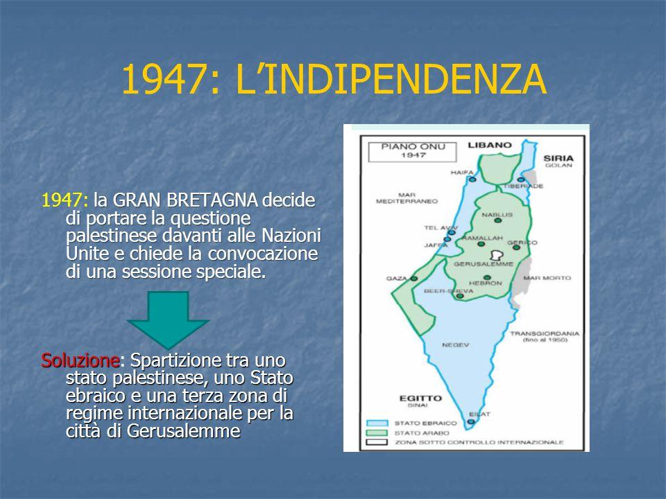 1947: L'INDIPENDENZA la GRAN BRETAGNA decide di portare la questione palestinese davanti alle Nazioni Unite e chiede la convocazione di una sessione speciale.