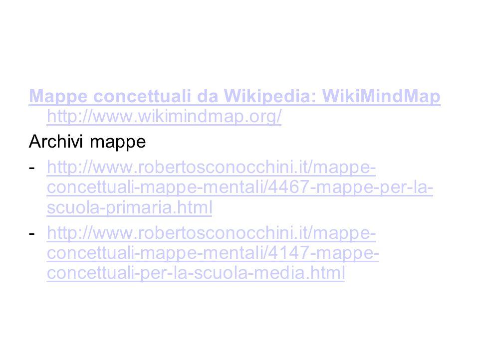 Mappe concettuali da Wikipedia: WikiMindMap http://www.wikimindmap.org/ Archivi mappe -http://www.robertosconocchini.it/mappe- concettuali-mappe-menta