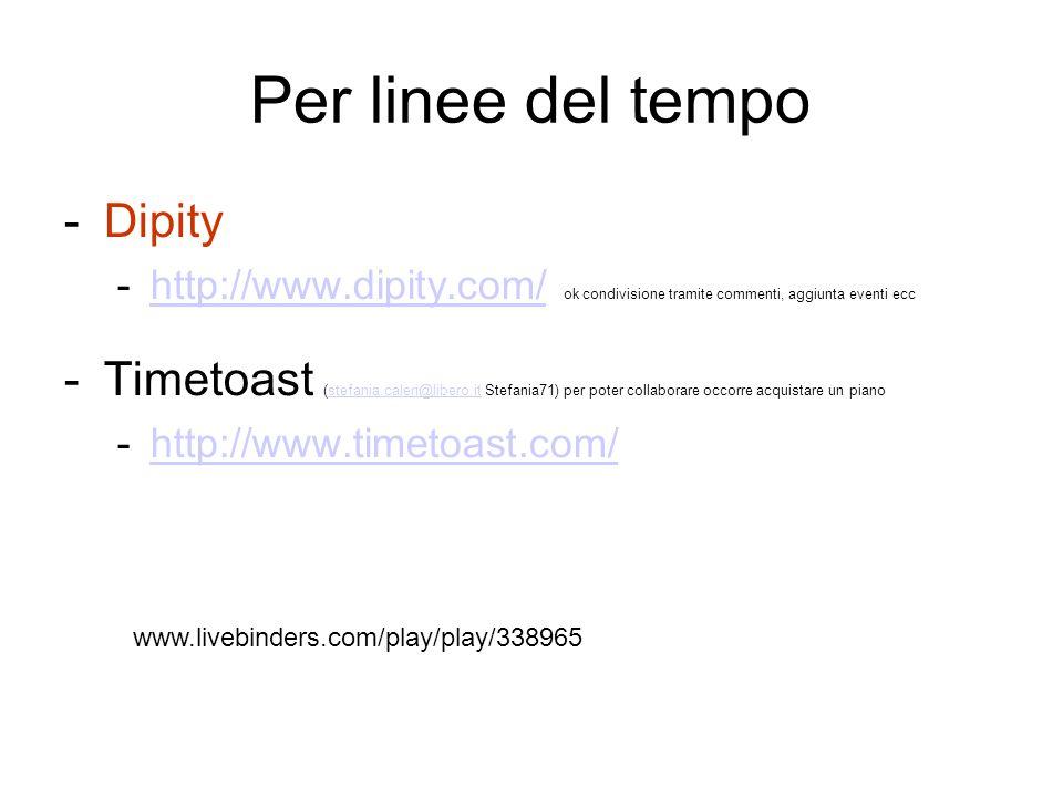 Per linee del tempo -Dipity -http://www.dipity.com/ ok condivisione tramite commenti, aggiunta eventi ecchttp://www.dipity.com/ -Timetoast (stefania.c