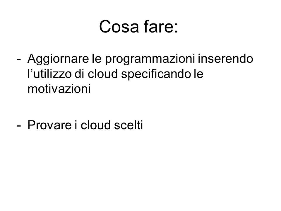 Cosa fare: -Aggiornare le programmazioni inserendo l'utilizzo di cloud specificando le motivazioni -Provare i cloud scelti