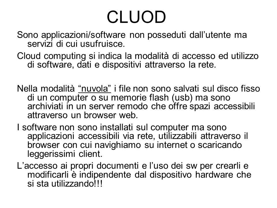 CLUOD Sono applicazioni/software non posseduti dall'utente ma servizi di cui usufruisce. Cloud computing si indica la modalità di accesso ed utilizzo